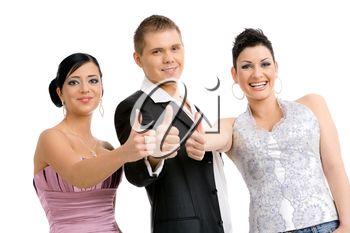 Group of 3 happy young people. wearing party clothes, showing OK. Isolated on white background.