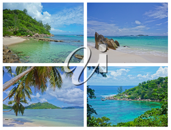 Collage of Tropical Landscapes, Seychelles, Indian Ocean