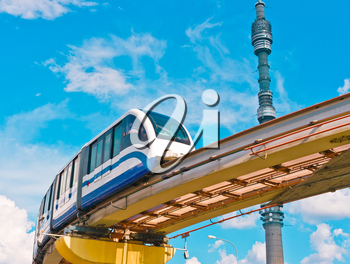 Cityscape with TV tower Ostankino and monorail train, Moscow, Russia, East Europe