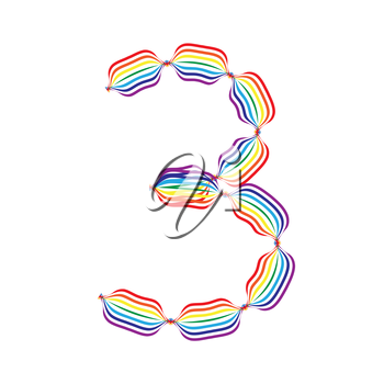 Number 3 made in rainbow colors on white background