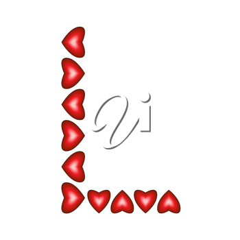 Letter L made of hearts on white background