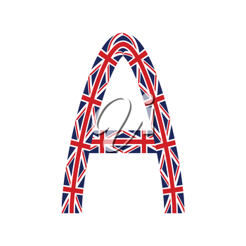 Letter A made from United Kingdom flags on white background
