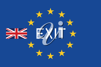 Flags of Europe and United Kingdom with word Exit. Brexit concept.