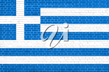 Flag of Greece on brick wall texture background. Greek national flag.