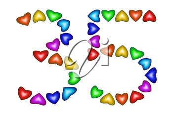 Number 35 of colorful hearts on white. Symbol for happy birthday, event, invitation, greeting card, award, ceremony. Holiday anniversary sign. Multicolored icon. Thirty five in rainbow colors.