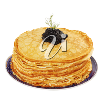 stack of pancakes with caviar, isolated on white