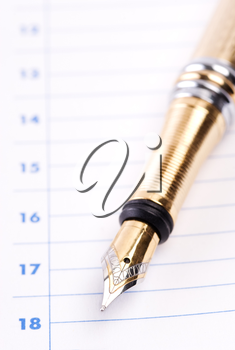 business concept in closeup, selective focus on nearest part of golden pen