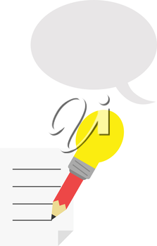 Vector red pencil with yellow light bulb tip with lined paper and grey speech bubble.