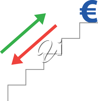 Vector grey stairs with blue euro symbol on top and red and green arrows moving down and up.
