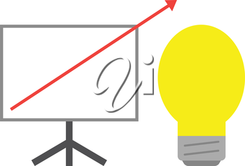 Vector white board with yellow lightbulb and red arrow pointing way up.