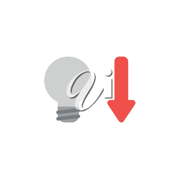 Flat design style vector illustration concept of grey light bulb with red arrow symbol icon pointing down on white background.
