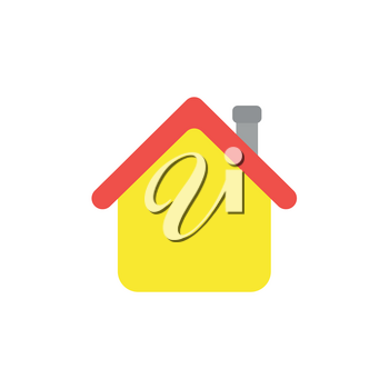 Flat design style vector illustration concept of yellow house symbol icon with red roof and grey flue on white background.