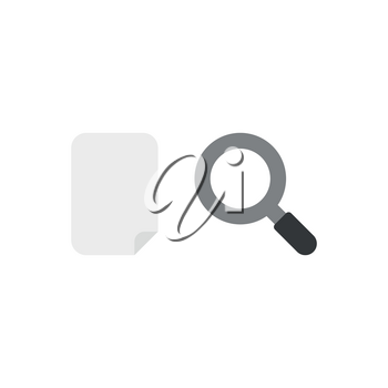 Flat design style vector illustration concept of grey blank paper with grey and black magnifying glass or magnifier icon on white background.