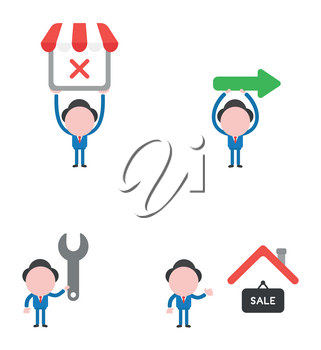 Vector illustration set of businessman mascot character holding up shop store with x mark, arrow sign, holding spanner and with sale hanging sign under house roof.
