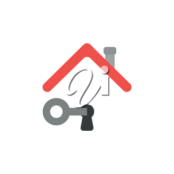 Vector illustration icon concept of key unlock keyhole under house roof.