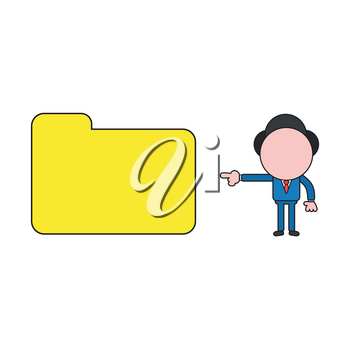 Vector illustration concept of businessman character pointing closed file folder. Color and black outlines.