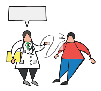 Vector illustration cartoon doctor man holding folder and talking to his patient with blank speech bubble and oatient surprised.