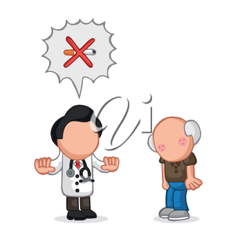 Vector hand-drawn cartoon illustration of doctor telling old patient to quit smoking cigarette.