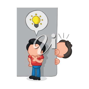 Vector hand-drawn cartoon illustration of man spying on man with light bulb icon idea behind wall.