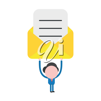 Vector illustration of faceless businessman character holding up open yellow mail envelope with written paper.