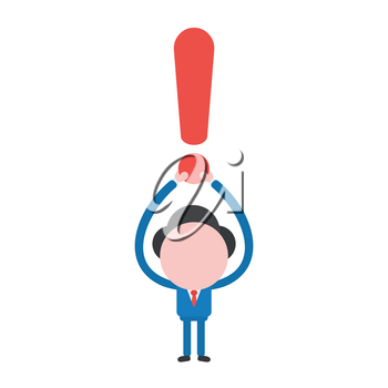 Vector illustration businessman mascot character holding up exclamation mark.