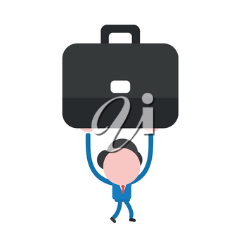 Vector illustration businessman mascot character walking and holding up briefcase.