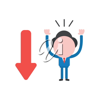 Vector illustration businessman character with red arrow moving down.