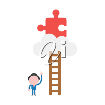 Vector illustration businessman character pointing missing jigsaw puzzle piece on cloud to reach with wooden ladder.
