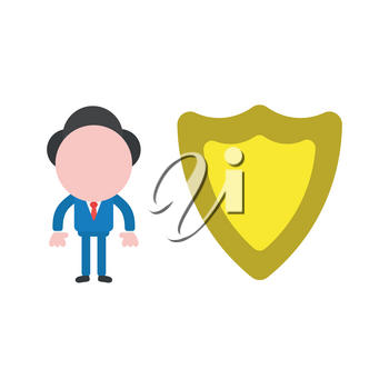 Vector illustration businessman character with guard shield.