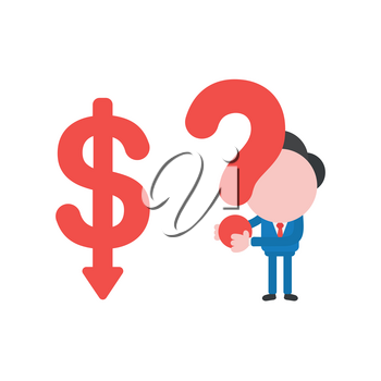 Vector illustration businessman character with dollar arrow moving down and holding question mark.