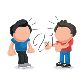 Vector hand-drawn cartoon illustration of angry man wanting another man to fight.