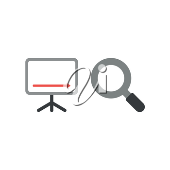 Vector illustration concept of sales chart arrow moving down with magnifying glass icon.