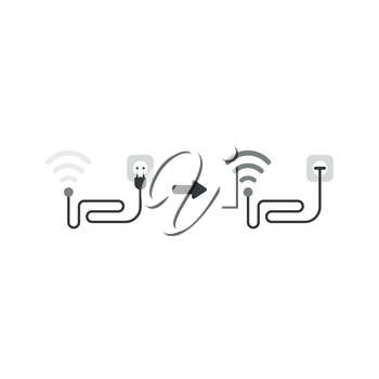 Vector illustration concept of grey wireless wifi symbol with cable and plugged into outlet and signal increased.