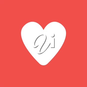 Flat vector icon concept of heart shape on red background.