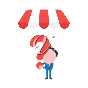 Vector illustration businessman character holding question mark under shop store awning.