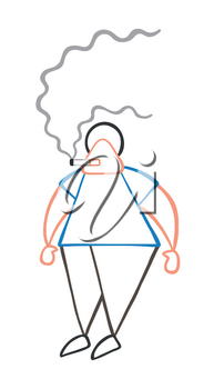 Vector illustration cartoon man character standing and smoking cigarette.