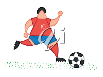 Vector illustration cartoon soccer player man running and dribble ball on pitch.