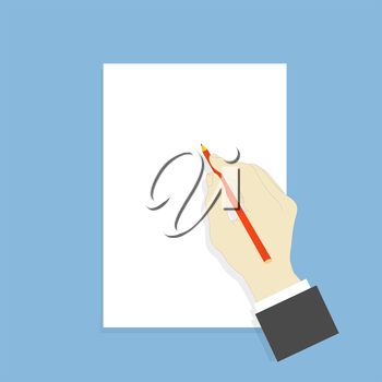 Hand with pencil and white sheet of paper. Vector illustration .
