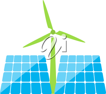 Solar panels and windmill of ecological energy on a white background. Vector illustration .