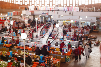 GOMEL, BELARUS - JAN 25: a food market in Gomel, January 25, 2014. This is an example of existing food market in Belarus