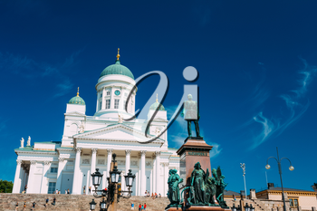 Helsinki Cathedral, Helsinki, Finland. The Facade Fronted By A Statue Of Emperor Alexander II Of Russia