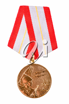 Russian (soviet) medal for participation in the Second World War on white isolated background
