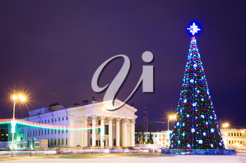 Main Christmas Tree And Festive Illumination On Lenin Square In Gomel. New Year In Belarus.