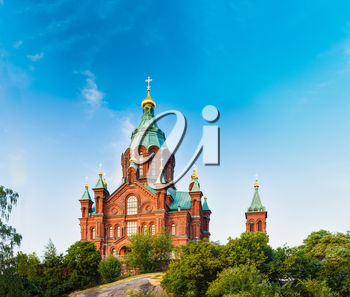 Helsinki, Finland. Uspenski Cathedral On Hill At Summer Sunny Day. Red Church - Tourist Destination In Finnish Capital. Eastern Orthodox Cathedral Dedicated To Dormition Of The Theotokos (Virgin Mary)