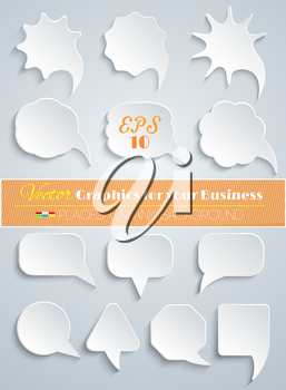 Abstract Vector White Speech Bubbles Set on Grey Background