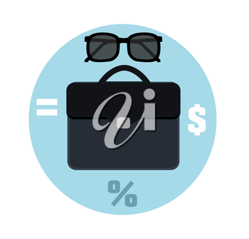 Icon briefcase and sunglasses. Business concept