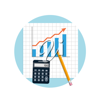 Accounting. Financial planning with calculator and pencil in flat design style