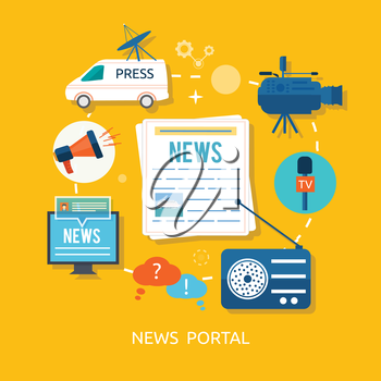 News journalist with microphone interviewing in flat design. Teleconference between journalists correspondents from different locations to connect avatar