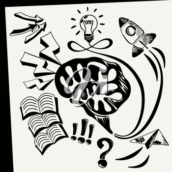 Business doodles icons Sheet of paper with lightbulb brain books arrows rocket fly top cloud in sketch style