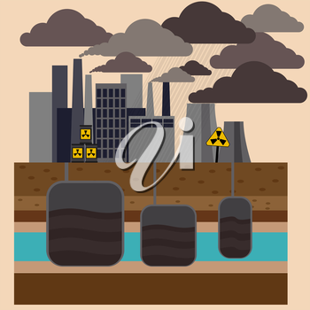 Power plant smokestacks emitting smoke over urban cityscape in cartoon style. Smokestack in factory with black yellow sky and clouds